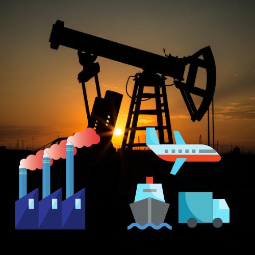 индустрии, транспорт, изкопаеми горива, емисии